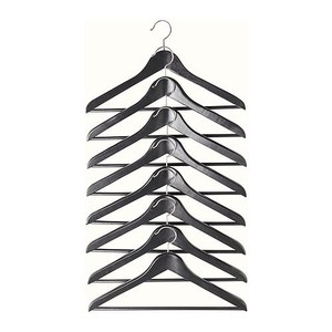 BUMERANG curved clothes hanger 8p, black