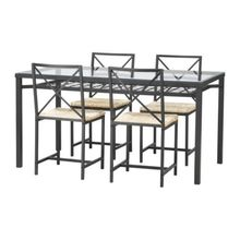 GRANAS Table and 4 chairs, black, glass
